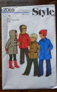 Vintage paper pattern, Style 2069 for child's duffle coat and jacket. Age 6 years . Unused by Marcialois on Etsy