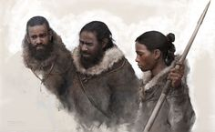 Ice Age hunters with a spear made of Mammoth ivory that is fitted microliths as envisioned by Tom Björklund