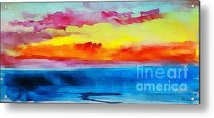 Expressive Sunrise Seascape Watercolor Painting C2 Acrylic Print By Ricardos Creations