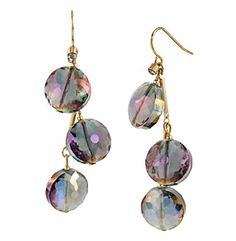 Product: Kenneth Cole® Purple Faceted Bead Linear Earrings