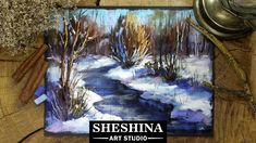 How to draw a winter landscape with soft pastels Sheshina Ekaterina