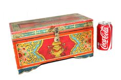 Antique Box Asian India Hand Painted Folk Art by DieVoltVintage