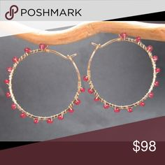 "14k Gold Fill Hammered Ruby Hoop Earrings Hammered hoops with ruby, about 1-1/4"" diameter. Clp11 Calico Juno Jewelry Jewelry Earrings"