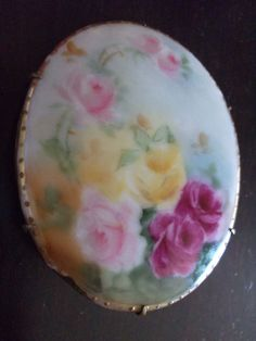Large Antique Victorian Hand Painted Porcelain 1890s Roses Botanical Brooch Pin