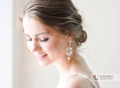 Bridal Silver Earings with Freshwater Pearl and Nacre Wedding