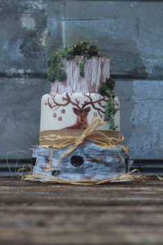Succulent Love Succulent Love 3 tier wedding cake decorated with a woodland theme. The bottom tier favors Birchwood and the middle is a hand painted deer... #succulent #cactus #cacti #cakecentral #Jackie