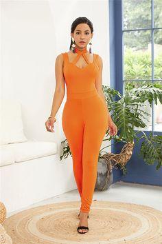 Hualong Sexy Orange Sleeveless Halter Bodycon Jumpsuit 1