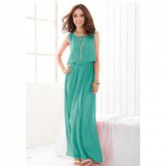 $9.01 Fashionable and Elegant Style Scoop Neck Sleeveless Solid Color Bohemian Chiffon Maxi Dress For Women