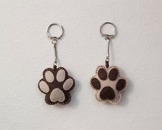 Felt dog paw  key chain pendant