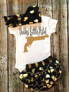 Daddy's Little Pistol Baby Girl Onesie Fathers Day Onesies - BellaPiccoli