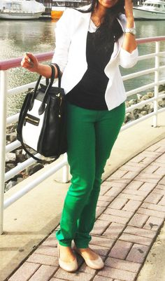 forever green pants and white blazer :) my most fav combo so far !!