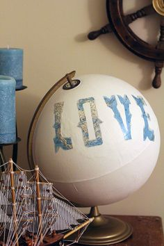 """Click here for tutorial on how to make a DIY Painted Globe. Perfect """"prop' for the wedding guestbook table! http://upcycledtreasures.com/2013/03/painted-globe/"""