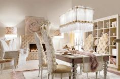 Luxury Dining Room Sets With Chic Chair And Dining Table Cutlery Set Flower Decor Chandelier Glass Window Cream Curtains Floor Lamp Arm Sofa Cushion Decoration Candles Storage Unit Fireplace By Altamoda