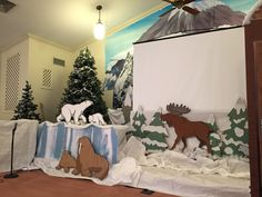 Glacier & animals for AiG's Operation Arctic set (VBS 2017)- Calvary Baptist, Cleveland, MS (we reused the Kilimanjaro scene setter for the back of the mountains)