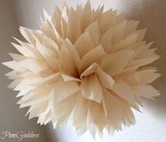 Beige.. 1 Tissue Paper Pom Pom - Vintage Inspired wedding - Nursery Decor - wedding centerpiece. $3.50, via Etsy.
