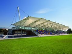 Cable-and-membrane tensile structure / for stadiums - STADIONDACH TSV