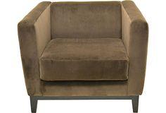 Modern Cube Chair w/ Velvet Upholstery on OneKingsLane.com