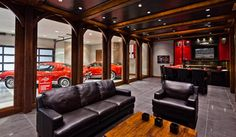 Modern Man Cave Garage Ideas Nothing is more rewarding than a manly full-scale garage renovation. When your residential options are limited, these 50 man cave garage ideas will help. Man Cave Designs, Garage House, Dream Garage, Garage Shop, Car Garage, Garage Plans, Man Cave Basement, Man Cave Garage, Car Man Cave