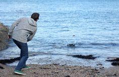 Skimming Stones and Wearing Weird Fish - Wild Tide Skimming Stone, Weird Fish, Visual Merchandising, Shark, Coastal, Stones, Couple Photos, Couple Shots, Rocks