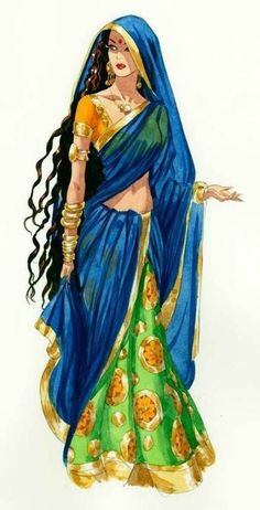 Beautiful drawing of Indian woman in traditional clothing, ghagra choli with long dupatta, long hair and ethic jewellery, from: Best Ideas For Fantasy Art Sketch Illustrations Drawings. Indian Illustration, Fashion Illustration Sketches, Fashion Sketches, Art Sketches, Drawing Fashion, Indian Women Painting, Indian Art Paintings, Rajasthani Painting, Rajasthani Art