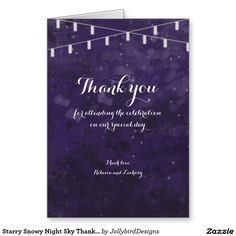 Starry Snowy Night Sky Thank You Note Card Thank You Note Cards, Wedding Thank You Cards, Night Skies, Wedding Invitations, Sky, Watercolor, Heaven, Pen And Wash, Watercolor Painting