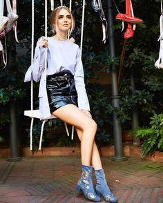Chiara in the new denim booties #ChiaraFerragniShoes #ChiaraFerragniCollection