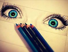 arte, blue, colores, dibujo, dibujos, eyes, lápiz, ojos