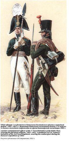 Обер-офицер 1-го флотского батальона Балтийского флота и мушкетёр 3-го морского полка.