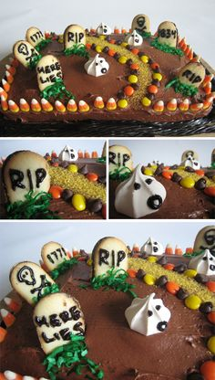 Graveyard cake. I like the candy corns for fence and Pepperidge Farm Milanos for gravestones, but I'd use ghost marshmallow peeps instead of their ghost cookies.