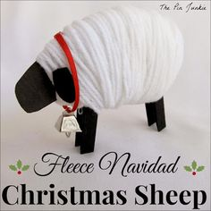 "Wish someone a Feliz Navidad with this easy to make ""Fleece Navidad"" Christmas sheep."