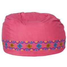 Embroidered Beanbag Cover - Pink