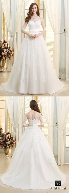 Stunning tulle scoop neckline ball gown wedding dresses with lace appliques. See-though upper body creating the dim beauty. (WWD91765) - Adasbridal.com