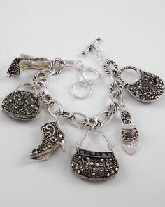 Antique Silver Shoe & Purse Charm Bracelet by CAMGLAMM on Etsy, $23.00