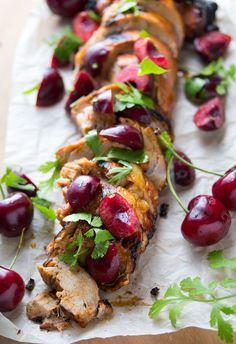 Grilled Chipotle Pork Tenderloin with Fresh Cherry Salsa | sweetpeasandsaffron.com