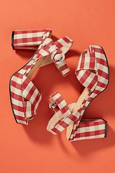9b055985dc5 Anthropologie Gingham Platform Sandals Fancy Shoes