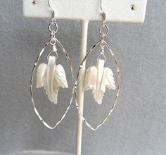 Mother of Pearl Leaf Sterling Silver Marquise Hoop Hammered Long Women's Earring, Dangle Mother of Pearl Earring by ThenThereWereThree on Etsy