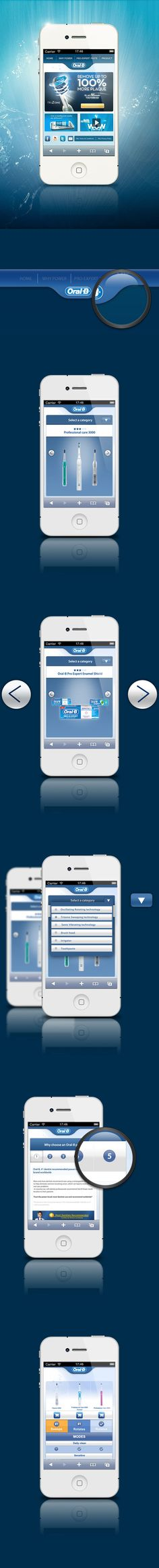 Oral-B  m.site by FIGMENTA , via Behance   ***   We've designed a completely new mobile website (mSite) for the Oral-B brand: a global template featuring a brand new comparison tool for Oral-B products, specifically designed for the UK market. Read