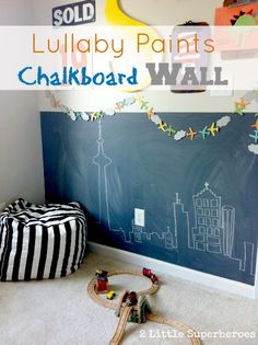 Non-toxic chalkboard paint in boys bedroom. #chalkboardpaint #boysbedroom #bedroom #diy #lullabypaints #non-toxicpaints | www.2littlesuperheroes.com little boys bedroom paint, chalkboard wall girls bedroom, chalkboard walls, boy bedroom, chalkboard paint, playroom, kid rooms, girl bedrooms, childs bedroom
