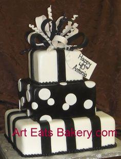 BLACK BIRTHDAY CAKES | tier square black and white fondant custom presents birthday cake ...