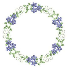 Sweet Heirloom Embroidery Design: Heirloom Flower Wreath 3.84 inches H x 3.71 inches W