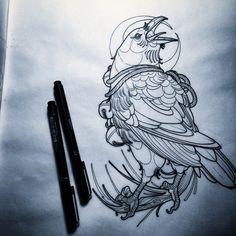 continues line drawing Tattoo Flash Art, Tatoo Art, Body Art Tattoos, Sleeve Tattoos, Crow Tattoo Design, Tattoo Designs, Tattoo Sketches, Tattoo Drawings, Corvo Tattoo