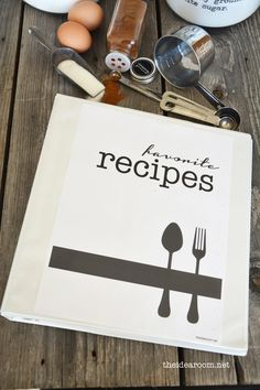 for all of those loose recipes in the form of magazine pages, printed recipes from the internet and handwritten recipe cards shoved into a makeshift recipe book.  Keep them organized in a  CUTE Recipe Book