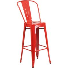 30-Inch High Metal Indoor-Outdoor Barstool with Back - Red