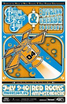 Concert poster for The String Cheese Incident and The Allman Brothers at Red Rocks in Morrison, CO in 2004. 11 x 17 inches on card stock.