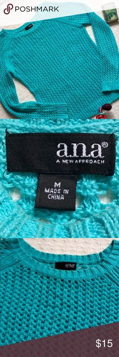 "a.n.a "" a new approach "" OPEN WEAVE SWEATER ....JUST IN TIME FOR SPRING LAYERING...GORGEOUS ROBINS EGG BLUE.... a.n.a ""a new approach "" OPEN WEAVE SWEATER. 55% ramie and 45% cotton.  Pairs well with skinny jeans and leggings. Measurements: 23.5"" length, 18"" chest and 20"" arm length. Details:  hand wash cold, reshape and dry flat.  Stored in a smoke free home. PERFECT CONDITION! ****BUNDLE ANY 3 ITEMS AND SAVE ANOTHER 15%**** a.n.a Sweaters"