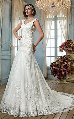 +A-line+Princess+Queen+Anne+Tulle+Wedding+Dress+–+USD+$+349.99