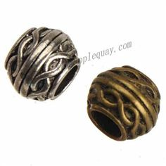 Zinc Alloy Large Hole Beads,Plated,Cadmium And Lead Free,Various Color For Choice,Approx 9.5*7.5mm,Hole:Approx 5mm,Sold By Bags,No 010728