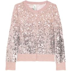 Bird by Juicy Couture Sequined Wool-Blend Cardigan ($158) ❤ liked on Polyvore featuring tops, cardigans, sweaters, shirts, women, pink shirts, sequin top, sequin cardigan, cardigan shirt and round neck shirt