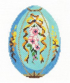 LEE MARCH Aquamarine Birthstone EGG OFTHE MONTH handpainted Needlepoint Canvas