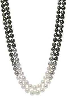 South Sea cultured pearl, diamond and 18k white gold double-strand Ombre necklace composed of (130) graduating black, silver and white South Sea culture